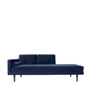BROSTE COPENHAGEN Wind chaiselong - blå polyester velour
