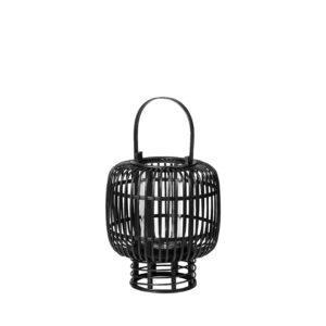 BROSTE COPENHAGEN rund Goran lanterne, m. hank - glas og sort bambus (Ø27,5)