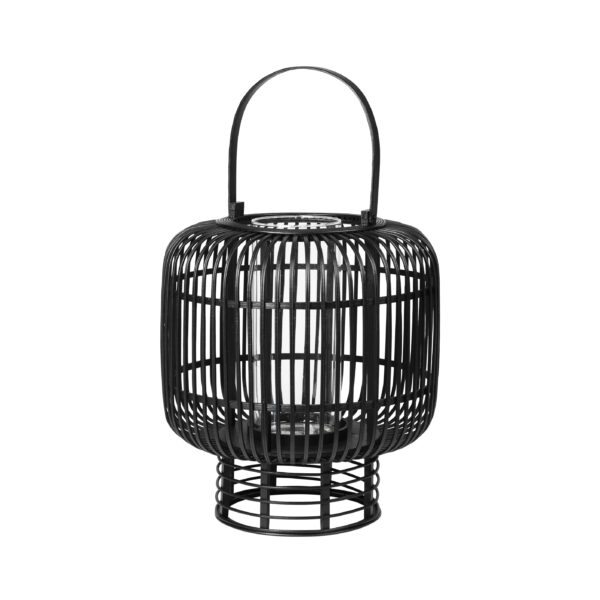 BROSTE COPENHAGEN rund Goran lanterne, m. hank - glas og sort bambus (Ø37)