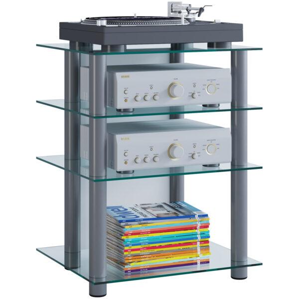 Bilus Hifi reol, m. 4 hylder - glas og grå aluminium