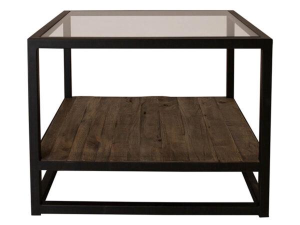 CANETT Salzburg sofabord - glasplade og egetræ m. sorte jernben, m. 1 hylde (60x60)