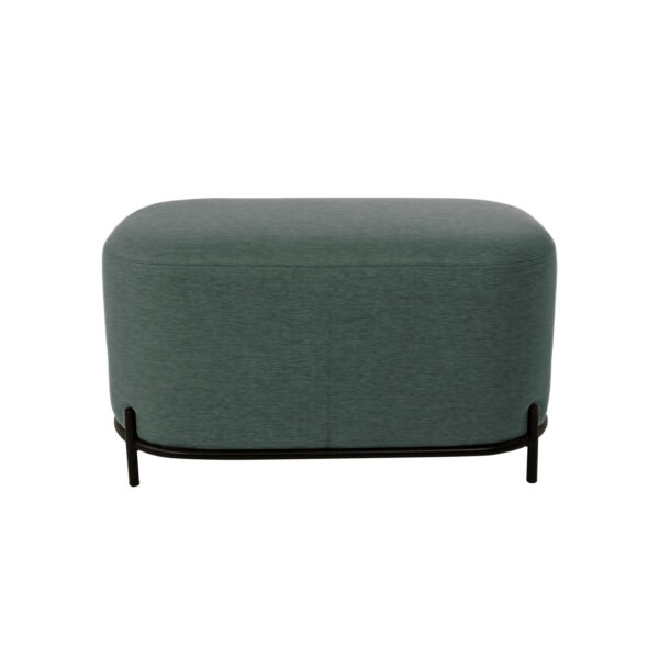 CANETT Sit rektangulær puf - polyester og sort jern (82x42)