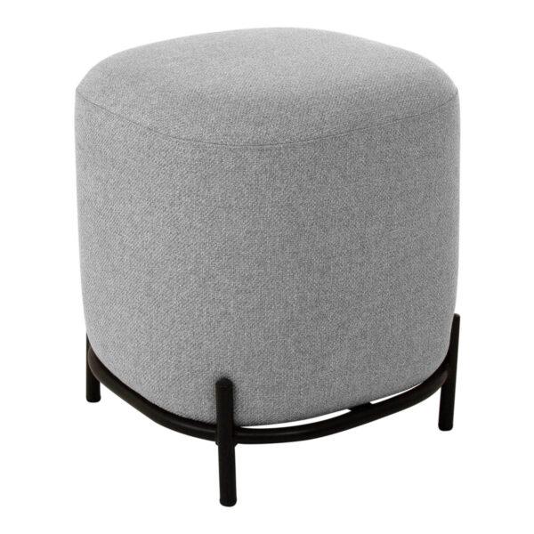 CANETT Sit rund puf - polyester og sort jern (Ø42)