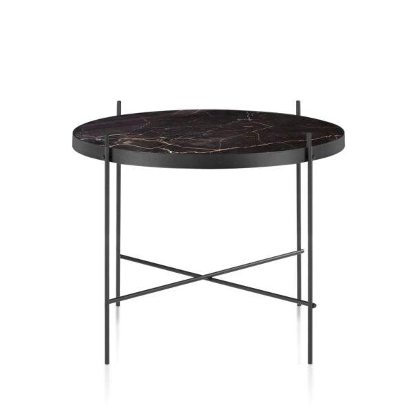 CANETT Tiago rund sofabord - sort marmor og jern Ø62