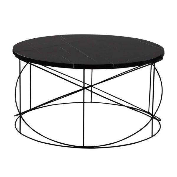 CANETT Wire sofabord, rund - sort marmor og sort jern (Ø80)