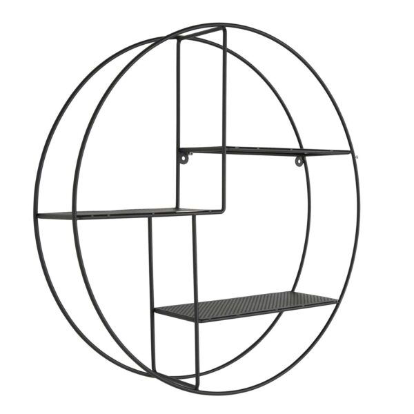 CANETT rund Vega vægreol - sort metal