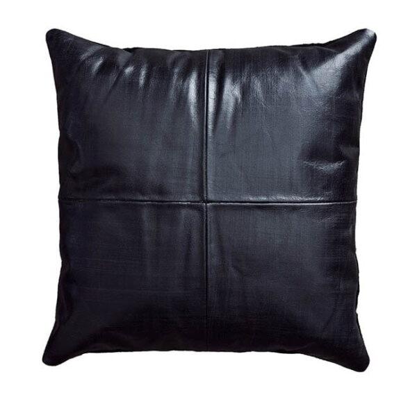 FUHRHOME Athens pude, sort læder, bagside af ruskind (45x45) - Unika