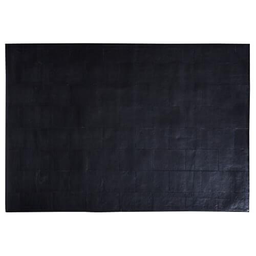 FUHRHOME Athens - sort læder tæppe (120x180cm)