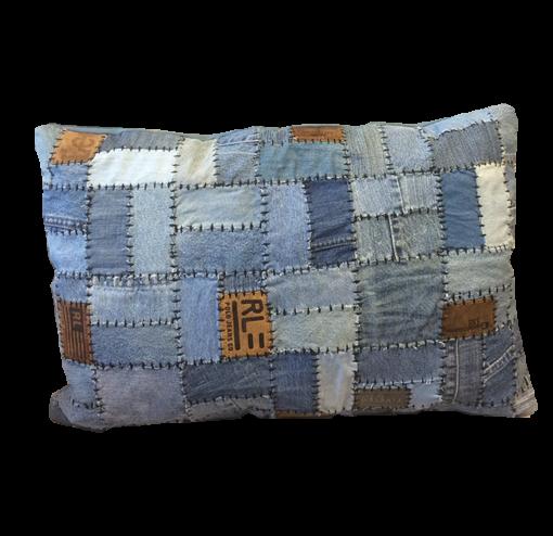 FUHRHOME Miami-M pude - blå (multifarvet) genbrugt denim stof, patchwork (60x40)