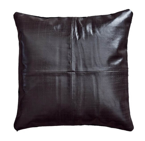 FUHRHOME Rabat håndlavet pude, mørkebrun læder (45x45) - Unika