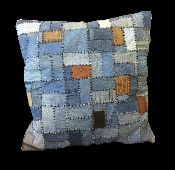 FUHRHOME firkantet Miami pude - denim patchwork (60x60)