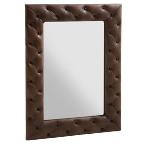 FUHRHOME rektangulært Stuttgart vægspejl - spejl og brunt læder, m. patina og sorte knapper (80x60)