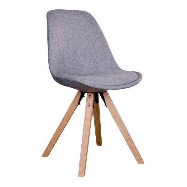 HOUSE NORDIC Bergen spisebordsstol - lysegråt stof m. natur træben