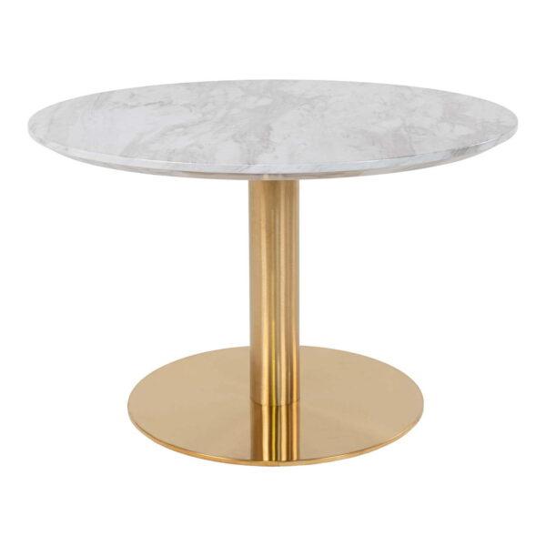 HOUSE NORDIC Bolzano sofabord - MDF med marmor look og messing stål (Ø70)
