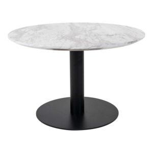 HOUSE NORDIC Bolzano sofabord - MDF med marmor look og sort stål (Ø70)