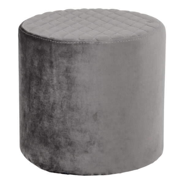 HOUSE NORDIC Ejby puf - grå velour, rund (Ø34)