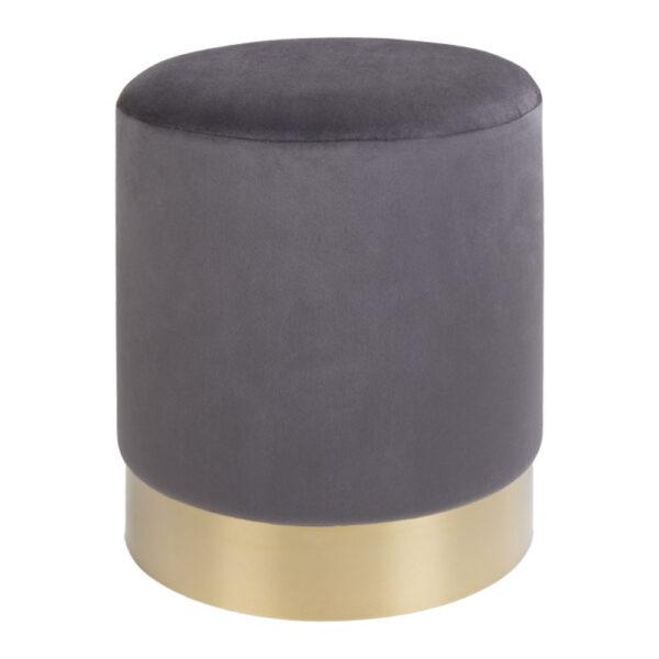 HOUSE NORDIC Gamby puf - grå/messing velour/metal, rund (Ø34)