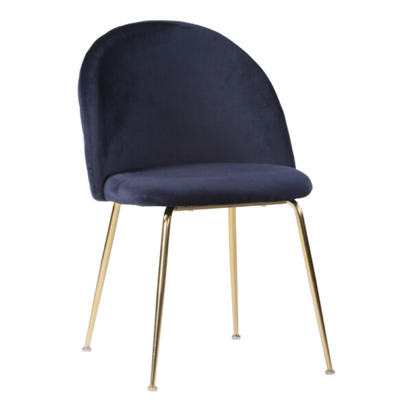HOUSE NORDIC Geneve spisebordsstol - blå/messing velour/stål