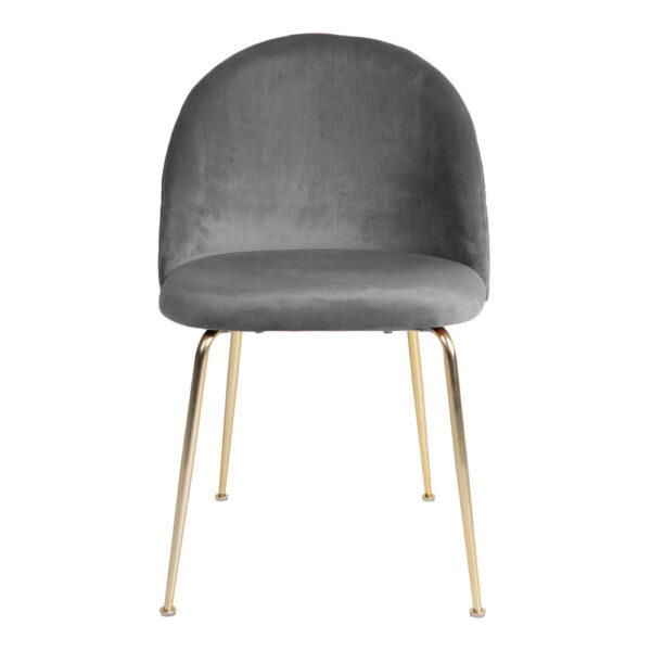 HOUSE NORDIC Geneve spisebordsstol - grå/messing velour/stål