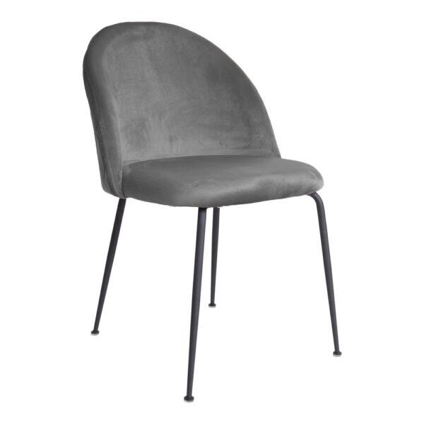 HOUSE NORDIC Geneve spisebordsstol - grå/sort velour/stål