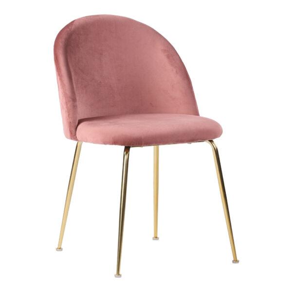 HOUSE NORDIC Geneve spisebordsstol - rosa/messing velour/stål