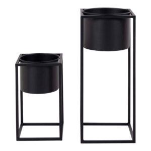 HOUSE NORDIC Marla blomsterstander - sort stål (sæt af 2)