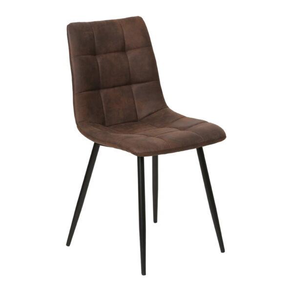 HOUSE NORDIC Middelfart spisebordsstol - mørkebrunt mikrofiber stof