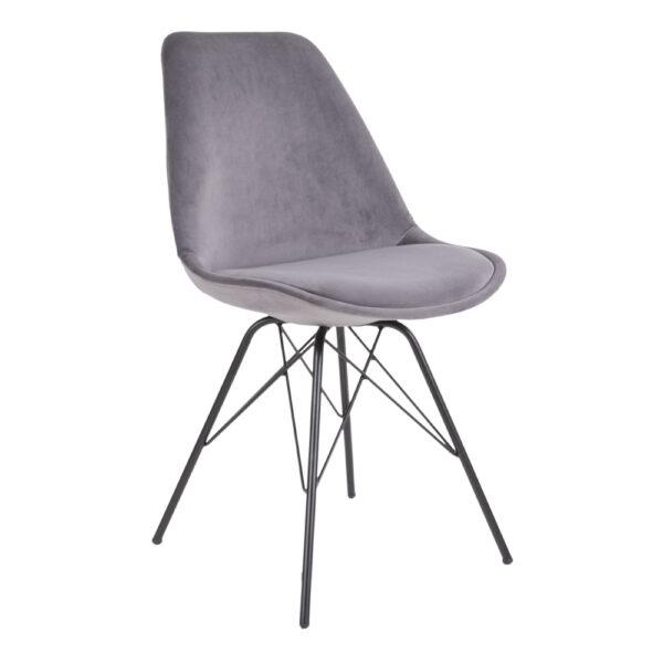 HOUSE NORDIC Oslo spisebordsstol - grå/sort velour/stål
