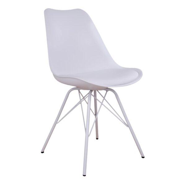 HOUSE NORDIC Oslo spisebordsstol - hvidt kunstlæder og plastik m. hvide stålben