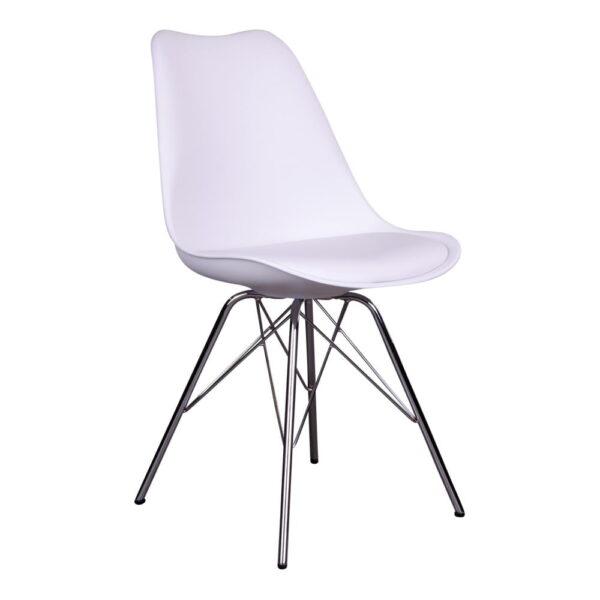 HOUSE NORDIC Oslo spisebordsstol - hvidt kunstlæder og plastik m. krom ben
