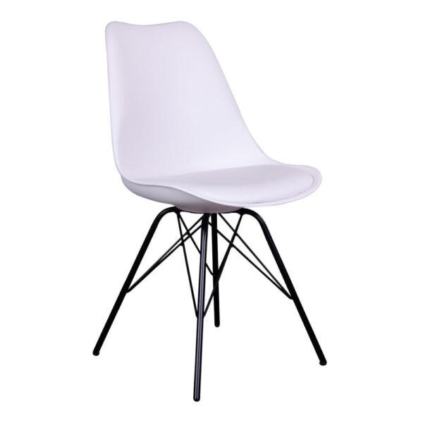 HOUSE NORDIC Oslo spisebordsstol - hvidt kunstlæder og plastik m. sorte stålben