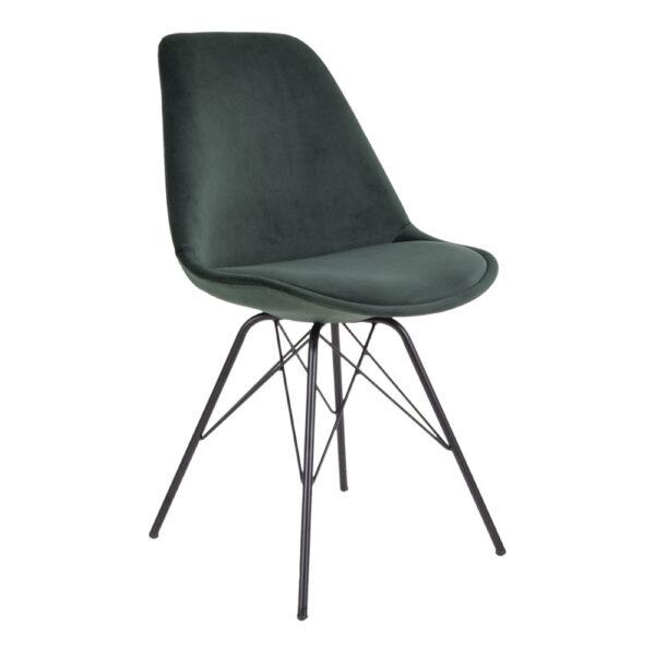HOUSE NORDIC Oslo spisebordsstol - mørkegrøn/sort velour/stål