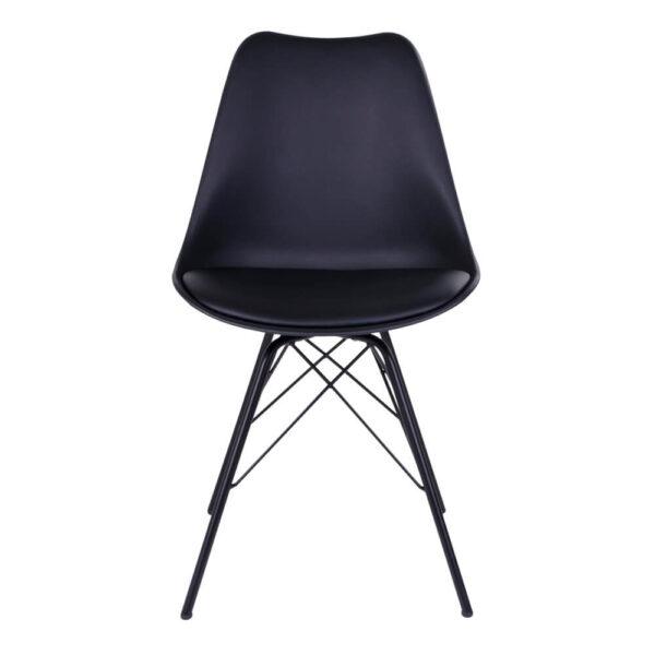 HOUSE NORDIC Oslo spisebordsstol - sort kunstlæder og plastik m. sorte stålben