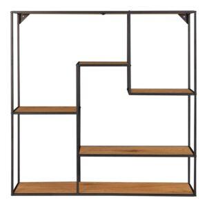 HOUSE NORDIC Vita væghylde - natur melamin og sort stål (85x85x18)