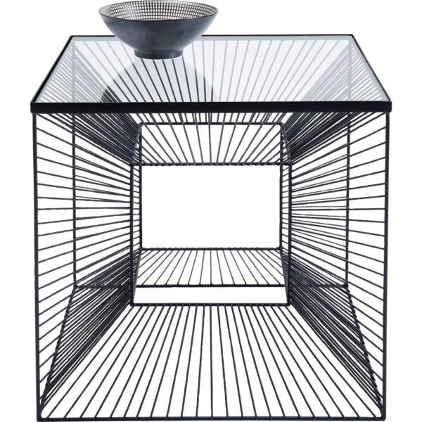 KARE DESIGN Dimension sofabord, kvadratisk - glasplade og sort stål (45x45)
