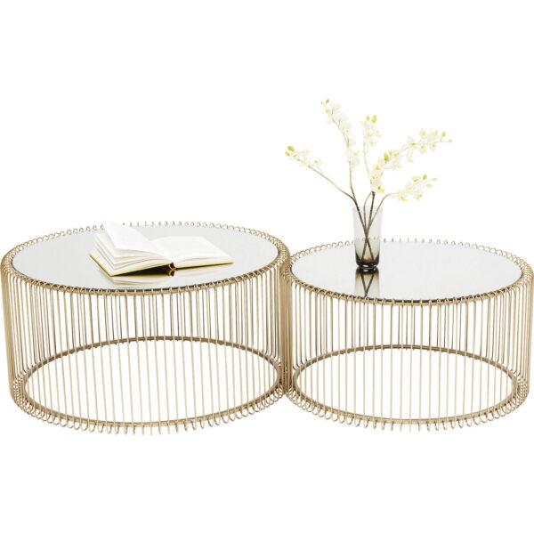 KARE DESIGN Wire Brass sofabord - spejlglas/messing stål, rundt (2/sæt)