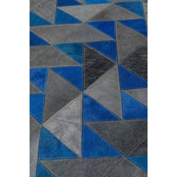 KARE DESIGN rektangulær Triangle Grey gulvtæppe - grå og blå uld og koskind (170x240)