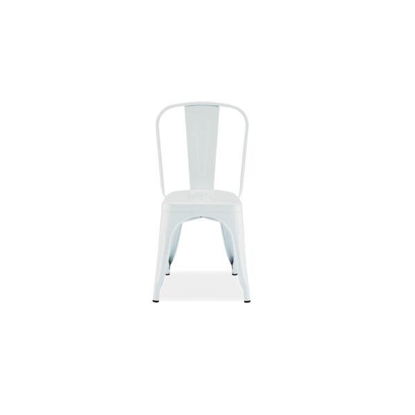 Korona spisebordsstol - hvid metal, uden armlæn
