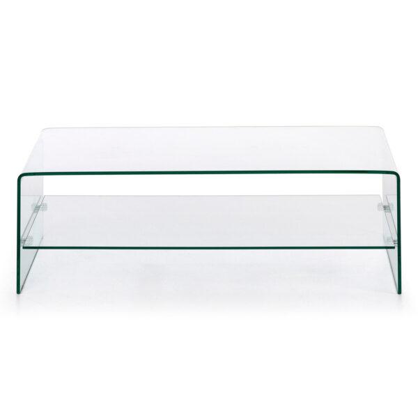 LAFORMA Burano sofabord, m. hylde - klar glas (110x55)