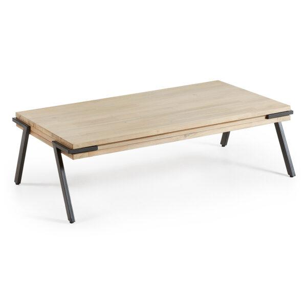 LAFORMA Disset sofabord - natur akacietræ og metal, rektangulær (125x70)