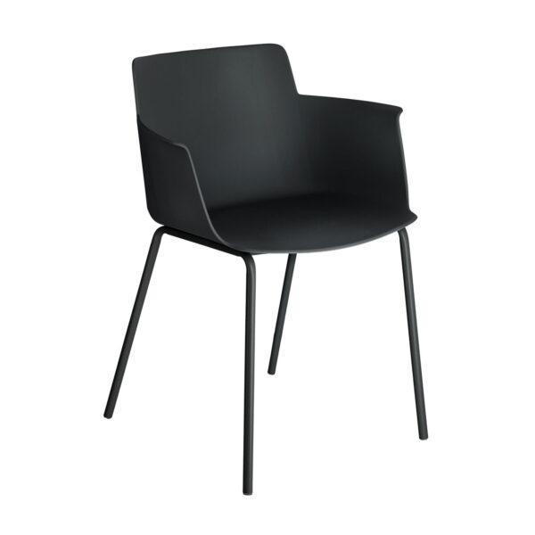 LAFORMA Hannia - spisebordsstol, m. armlæn - grønt plast og stål
