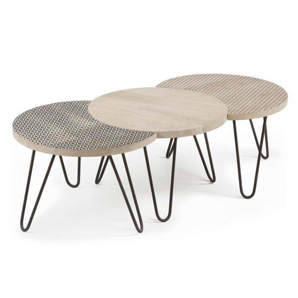 LAFORMA Hoss sofabord - natur/sort mangotræ/metal, rund (sæt á 3)