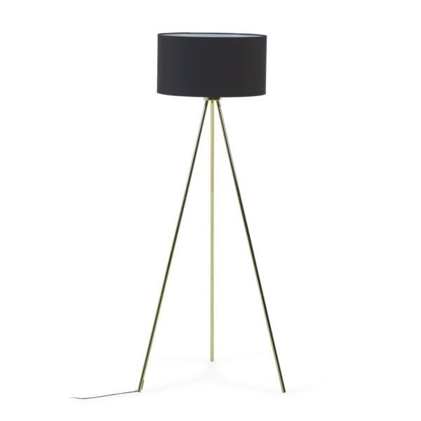 LAFORMA Ikia gulvlampe - sort bomuld/polyester og guld metal