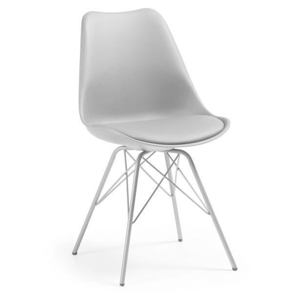 LAFORMA Lars spisebordsstol - grå plastik, kunstlæder og stål