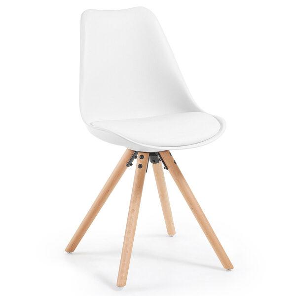 LAFORMA Lars spisebordsstol - hvid kunstlæder og plastik, natur bøgetræ