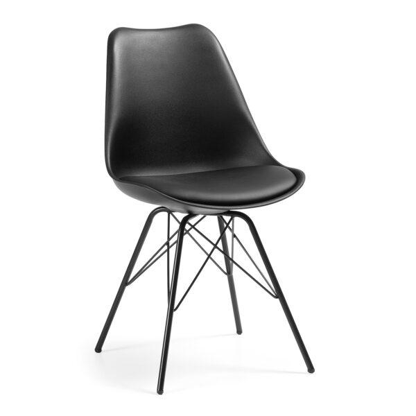 LAFORMA Lars spisebordsstol - sort plastik, kunstlæder og stål