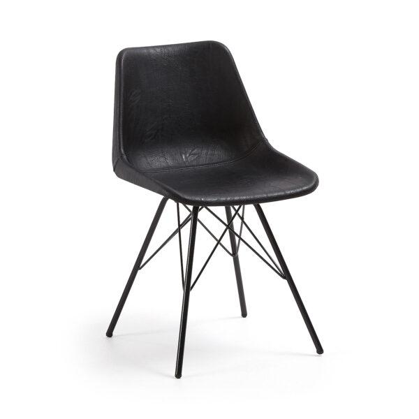LAFORMA Legrand spisebordsstol - sort syntetisk læder/metal