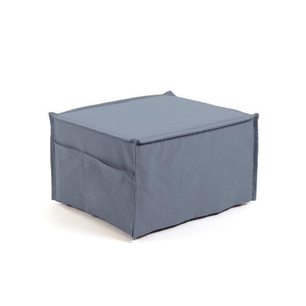 LAFORMA Lizzie puf seng - blå bomuld og natur bøg