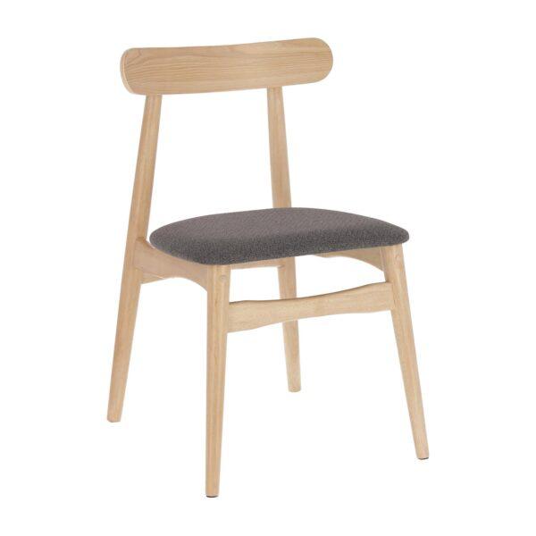LAFORMA Nayme spisebordsstol - mørkegrå stof og natur gummitræ