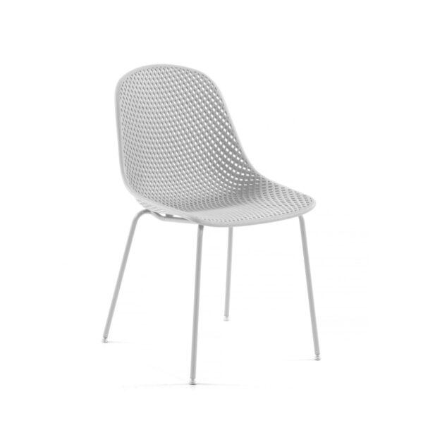 LAFORMA Quinby spisebordsstol - hvid plast og metal